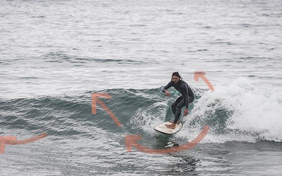 paso a nivel intermedio en el surf